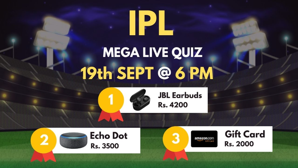 Play Mega Quiz on IPL on Amigoz App and win prizes worth Rs 10,000.