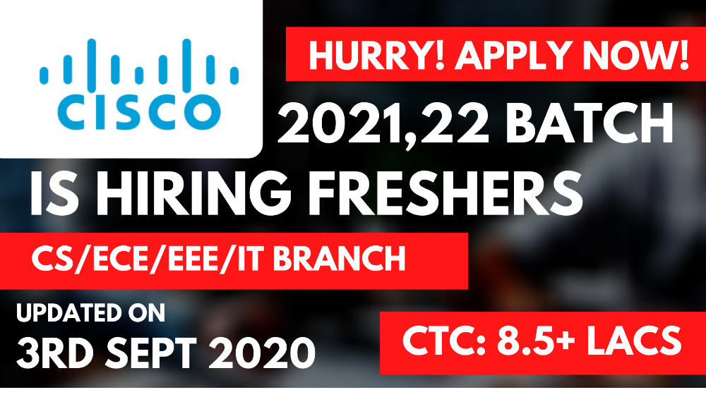 CISCO Off Campus Updates for 2021,22 Batch Freshers at 8.5+ LPA Salary | Apply Immediately