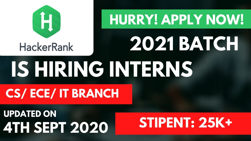 HackerRank is Hiring Interns from 2021 Batch at Rs. 25000 Stipend | Apply Immediately