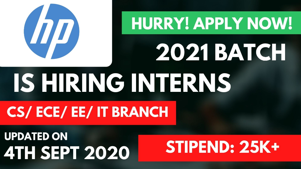 HP is hiring 2021 Batch Freshers for R&D Intern at 25000 Stipend | Apply Immediately
